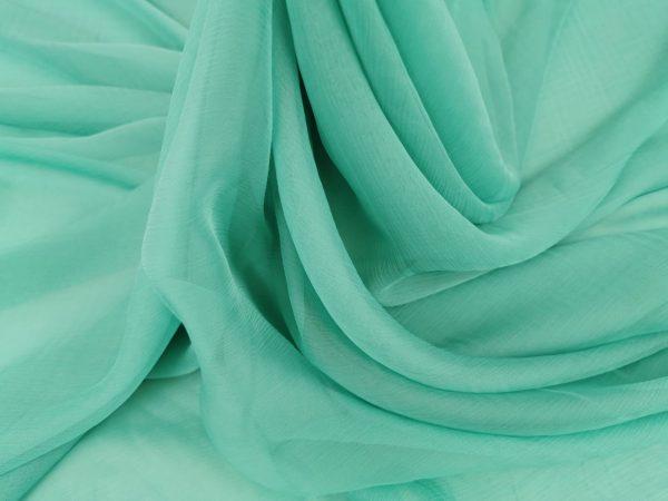 Voal creponat aquamarine Muselina din matase naturala