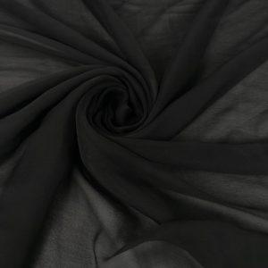 Voal creponat negru Muselina din matase naturala