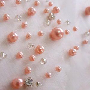 Perle roz quartz pe tul-11646