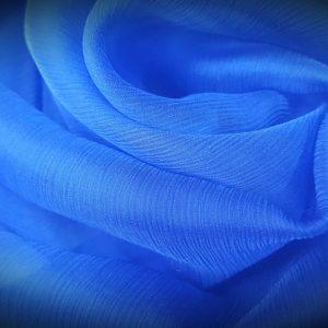Voal creponat albastru royal Muselina din matase naturala