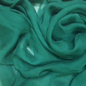 Verde-tuborg -- Voal creponat (Muselina) din matase naturala-1240