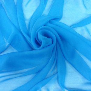 Voal Georgette albastru metalic din matase naturala
