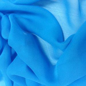 Albastru metalic --Voal Georgette din matase naturala-1058
