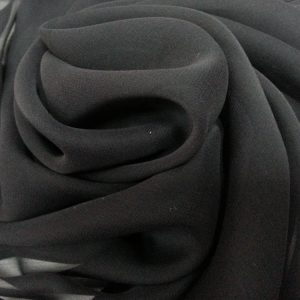 Negru -- Voal Georgette din matase naturala-1045