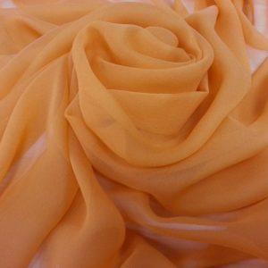 voal Georgette portocaliu din matase naturala