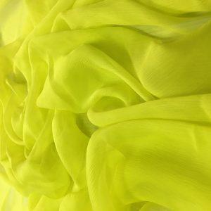 Voal creponat galben neon Muselina din matase naturala