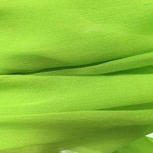 Verde-acid -- Voal creponat (Muselina) din matase naturala -2924