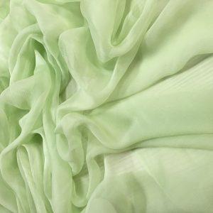 Voal creponat verde menta Muselina din matase naturala
