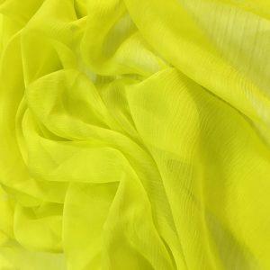 Galben-neon -- Voal creponat (Muselina) din matase naturala-2921