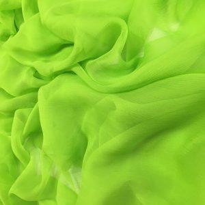 Voal creponat verde acid Muselina din matase naturala