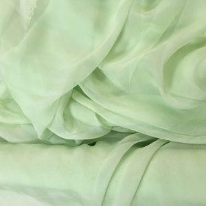 Verde mint -- Voal creponat (Muselina) din matase naturala-2933