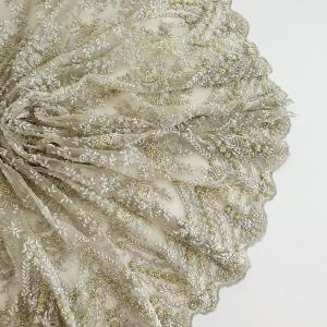Broderie argintie cu insertii lemon si alb perlat