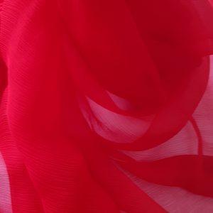 Voal creponat rosu Muselina din matase naturala