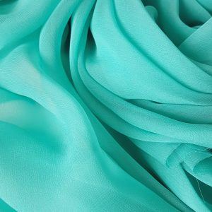 voal Georgette turquoise deschis din matase naturala