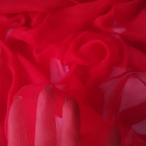 Rosu -- Voal creponat (Muselina) din matase naturala -8474