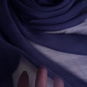 Voal creponat bleumarin Muselina din matase naturala
