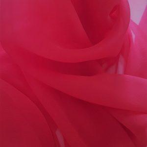 Voal creponat rosu trandafiriu Muselina din matase naturala