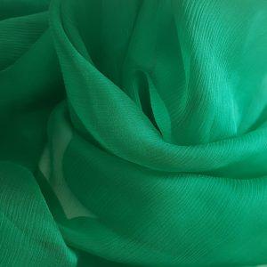 Voal creponat verde Muselina din matase naturala