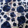 Broderie bleumarin cu aplicatii 3D brodate pe tull