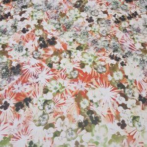Voal orange verde ivory cu imprimeu floral
