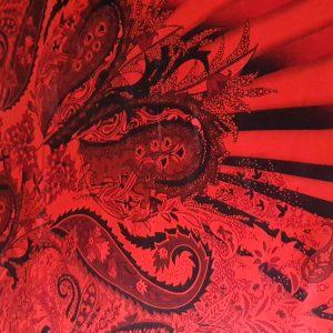 Matase naturala imprimata rosu negru
