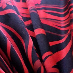 Matase naturala rosu negru imprimata