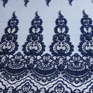 Broderie bleumarin accesorizata cu borduri pe macrame-15561