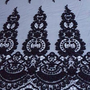 Broderie neagra accesorizata cu borduri pe macrame-15686