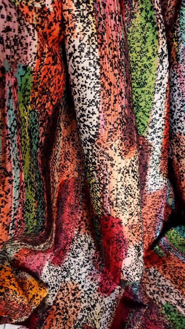 Stofa multicolora cu lana si fir metalic