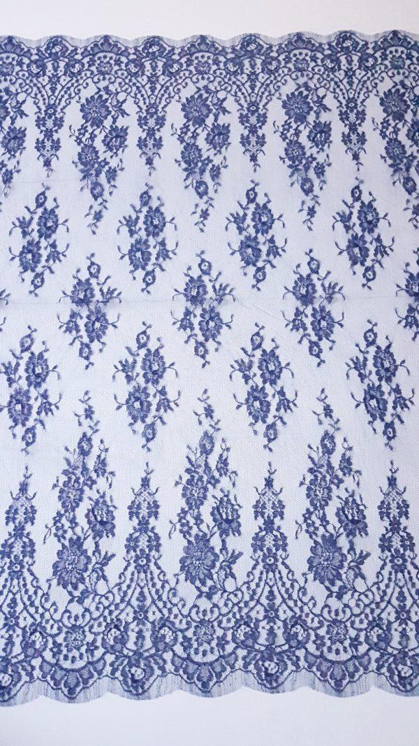 Dantela frantuzeasca albastru imperial Jean Bracq