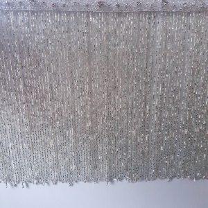Bordura franjuri din margele - argintiu-21627