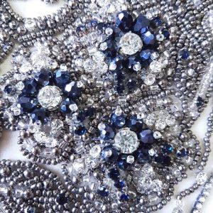 Panouri tip rochie albastru safir brodate 100 % manual