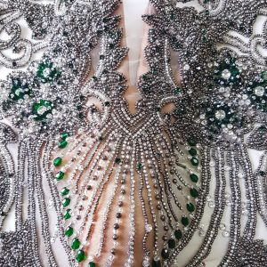 Panouri tip rochie verde smarald brodate 100 % manual