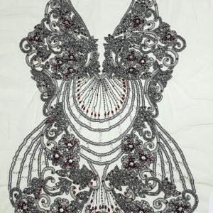 Panouri tip rochie, brodate 100 % manual - rosu rubin-21605