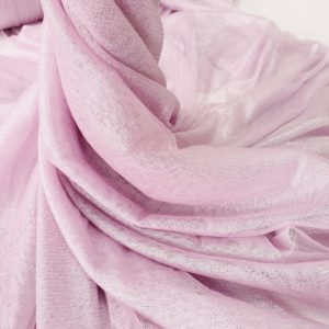 Tul din matase naturala roz pudra cu pelicula argintie