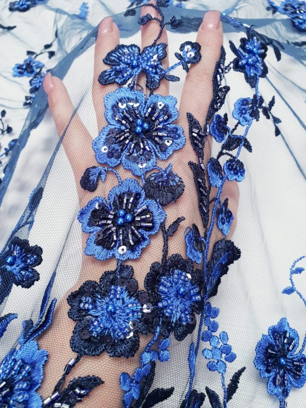 Broderie accesorizata, din bumbac, albastru royal si negru