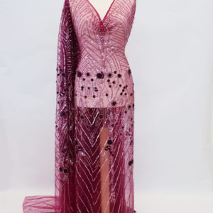 Broderie couture silver & wine