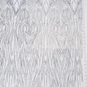 Broderie gri argintiu cu linii curbate