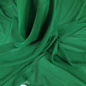 Voal creponat verde intens Muselina din matase naturala