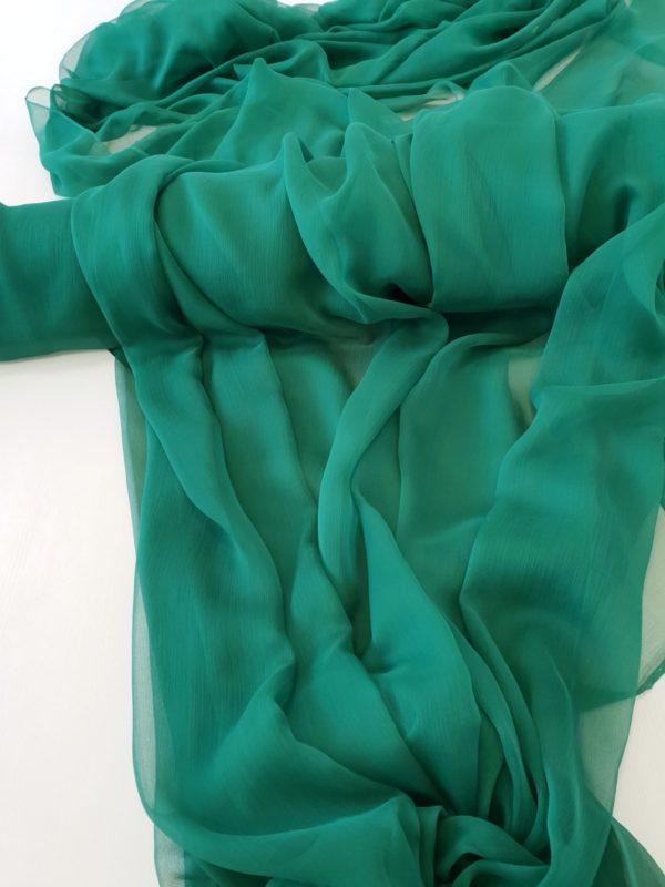 Voal creponat Muselina verde smarald din matase naturala