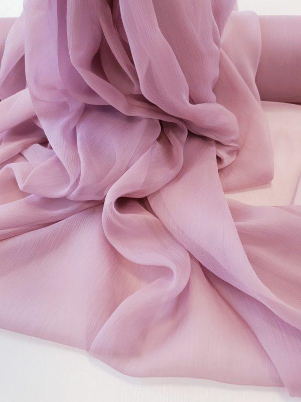 Voal creponat roz lila prafuit Muselina din matase naturala