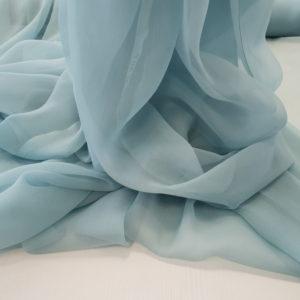 Voal creponat Muselina bleu gri din matase naturala