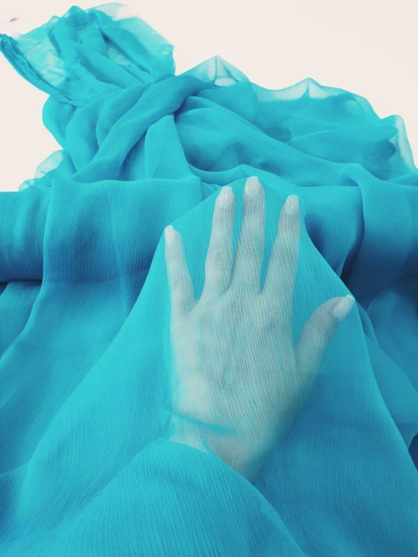 Voal creponat Muselina turquoise din matase naturala