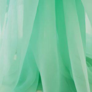Voal creponat verde mint Muselina din matase naturala