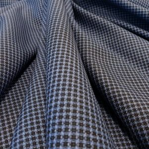 Stofa costum din lana 100% carouri bleumarin
