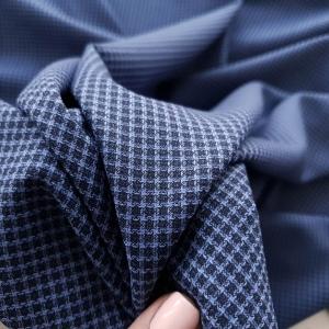 Stofa costum din lana 100% in carouri bleumarin