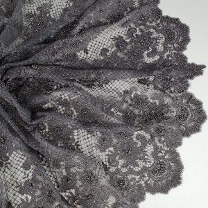 Dantela dark gray cu aspect siretat