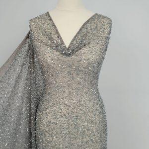 Plasa blue grey brodata cu perle