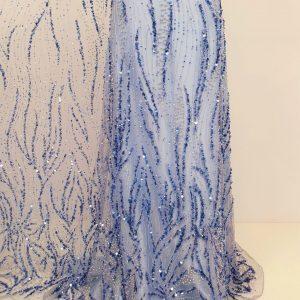 Broderie albastru royal cu cristale