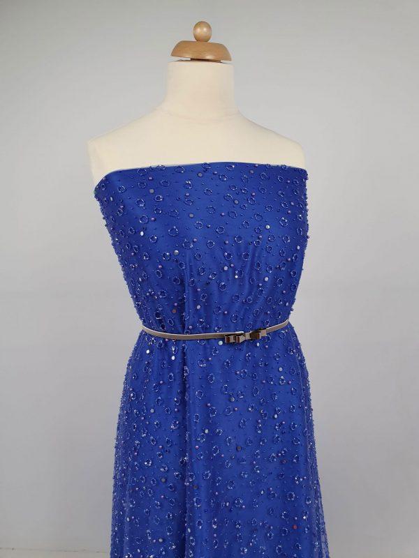 Dantela imperial blue cu margele